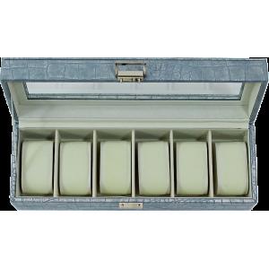 Boîte à montres croco gris clair irisée