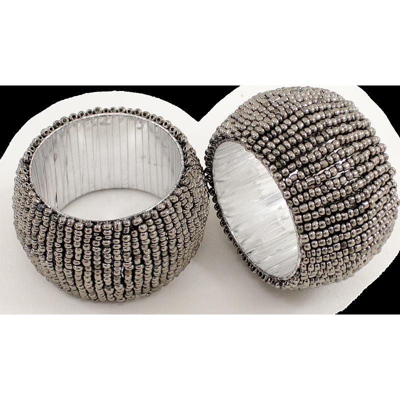 Rond de serviette perlé anthracite