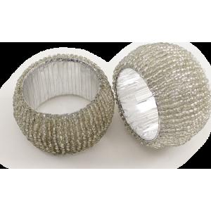 Rond de serviette perlé argent