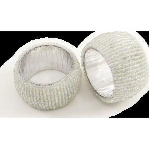 Rond de serviette perlé blanc