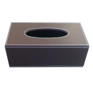 Boîte à mouchoirs rectangle choco surpiqué blanc, fond creux