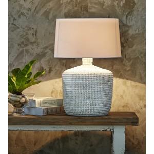 Lampe à poser H.64cm blanc, abat-jour en coton Lopa