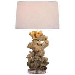 Lampe à poser torsade H.58cm abat-jour en coton Lanai