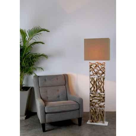Lampadaire bois flotté abat-jour en coton H.169cm