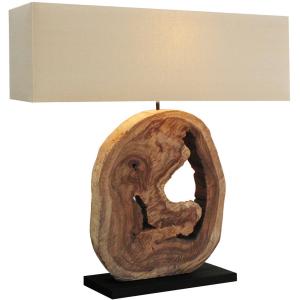 Lampe à poser H.92cm bois naturel foncé, abat-jour en lin Kaupo