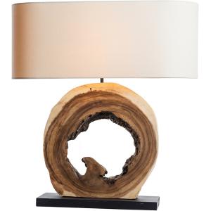 Lampe à poser H.61,5cm bois naturel clair, abat-jour en lin Kaupo