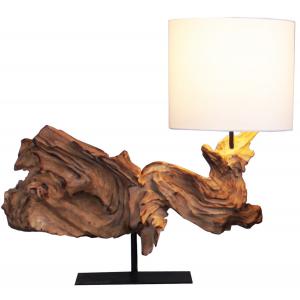 Lampe à poser H.52cm bois foncé, abat-jour en coton Maui