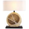 Lampe à poser bois naturel H.63cm abat-jour en lin Milolii