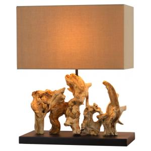 Lampa à poser bois blanchi H.50cm abat-jour en lin