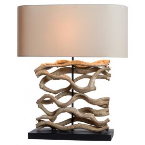 Lampa à poser bois blanchi H.60cm abat-jour en lin Hilo
