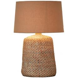 Lampe à poser H.64cm rattan, abat-jour en coton Lopa