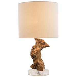 Lampe à poser torsade bois naturel H.47cm abat-jour en coton Lanai