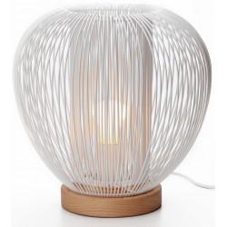 Lampe à poser métal blanc et bois D.27,5cm Rays