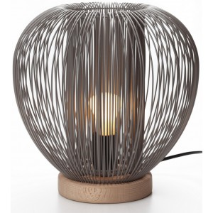 Lampe à poser métal gris/taupe et bois D.27,5cm Rays