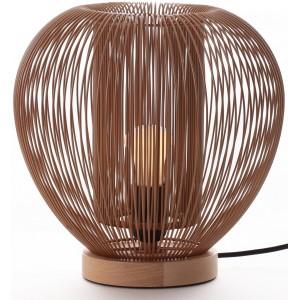 Lampe à poser métal camel et bois D.27,5cm Rays