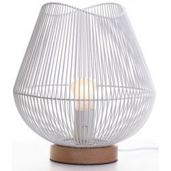 Lampe à poser métal blanc et bois D.26cm Sunrise