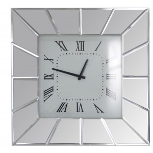 Horloge murale carré miroir Moy