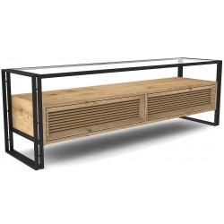 Meuble TV chêne clair pieds metal noir 2 tiroirs