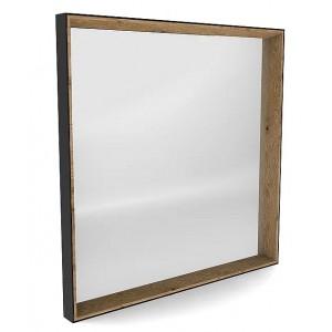 Miroir carré chêne clair et cadre en métal noir Matri