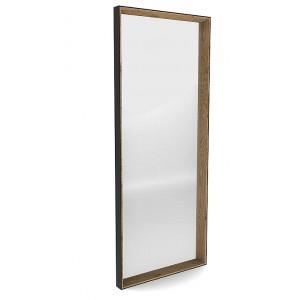 Miroir rectangle chêne clair et cadre en métal noir Matri