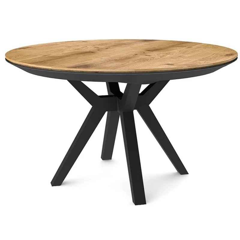 Table à manger ronde extensible chêne clair pieds hêtre massif noir Lisbonne