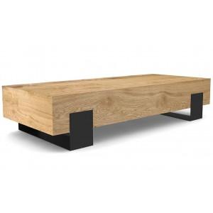 Tavolino da salotto rovere chiaro piedi metallo nero Kana