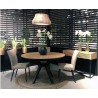 Table à manger ronde extensible bois clair pieds hêtre massif noir Lisbonne