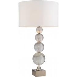 Lampe de table verre et acier abat-jour en tissu H.84cm