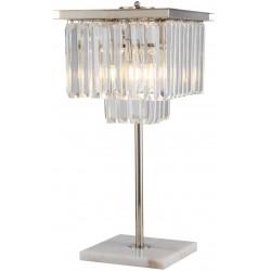 Lampe à poser métal et cristal finition nickel