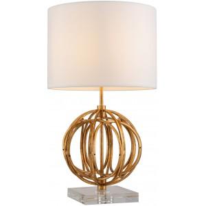 Lampe de table design métal finition feuille d'or base en cristal