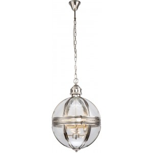 Suspension globe 3 feux design métal et verre
