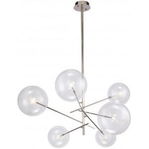 Suspension design 6 globes en verre, métal effet chromé