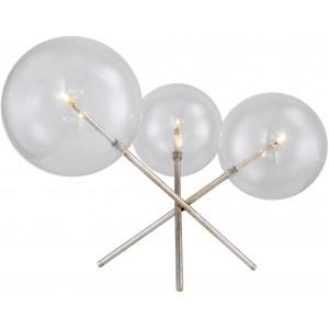 Lampe de table 3 globes en verres, effet argent vieilli