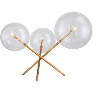 Lampe de table 3 globes en verres, effet doré