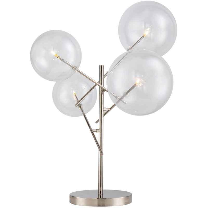 Lampe de table led 4 globes en verre, métal chromé
