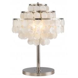 Lampe de table en métal fini nickel et coquillages blancs nacre H.55cm