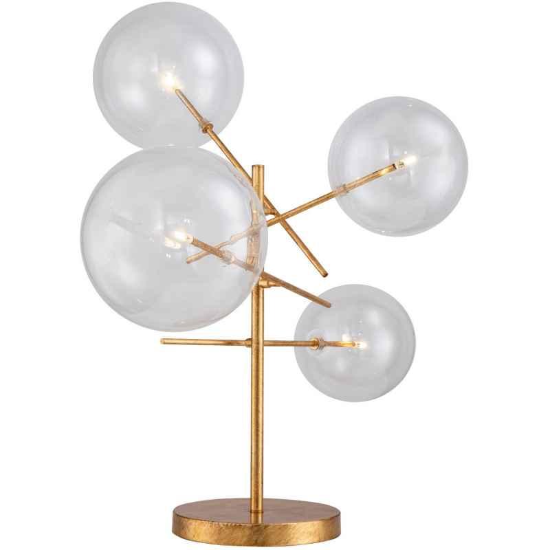 Lampe de table led 4 globes en verre, finition feuille d'or