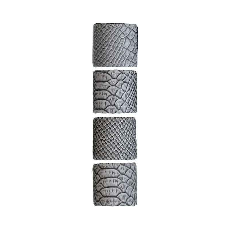 Ronds de serviette simili cuir de serpent gris lot x4
