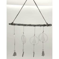 Suspension de Noël en bois x4 sapins suspendus