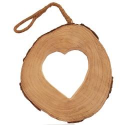 Suspension de Noël rondin de bois sculpté coeur
