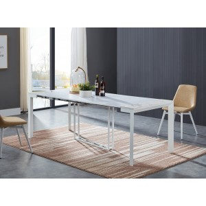 Table console extensible et pliable blanche Liel
