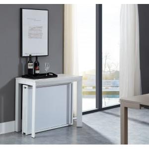 Table console extensible (180cm) et pliable taupe Liel