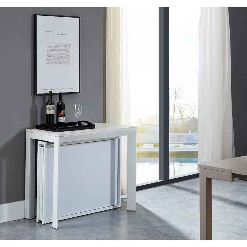 Table Console Extensible 180cm Et Pliable Taupe Liel