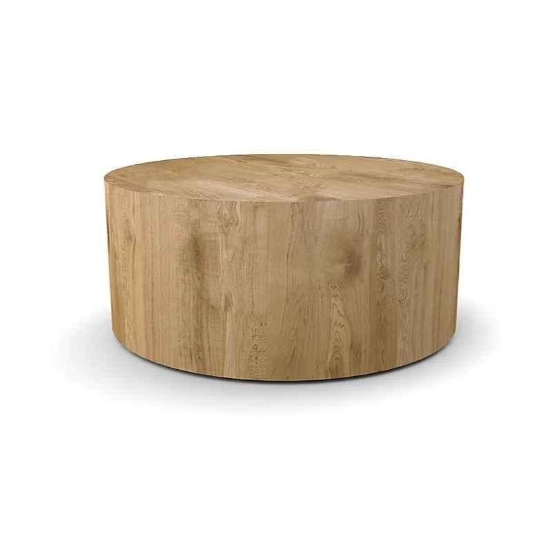Table basse salon chêne clair ronde D.90 cm