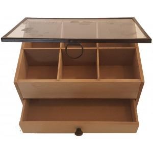 Boîte à couture bois noir, 1 tiroir, 6 compartiments