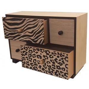 Petit meuble de rangement en bois, 4 tiroirs Jungle