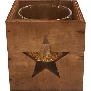 Photophore carré en bois rustique, étoile sculptée