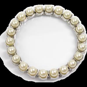 Dessous de verre inox perles blanches