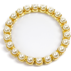Dessous de verre doré perles blanches