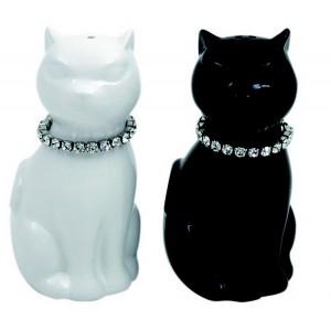 Poivre et sel noir et blanc couple de chats strass